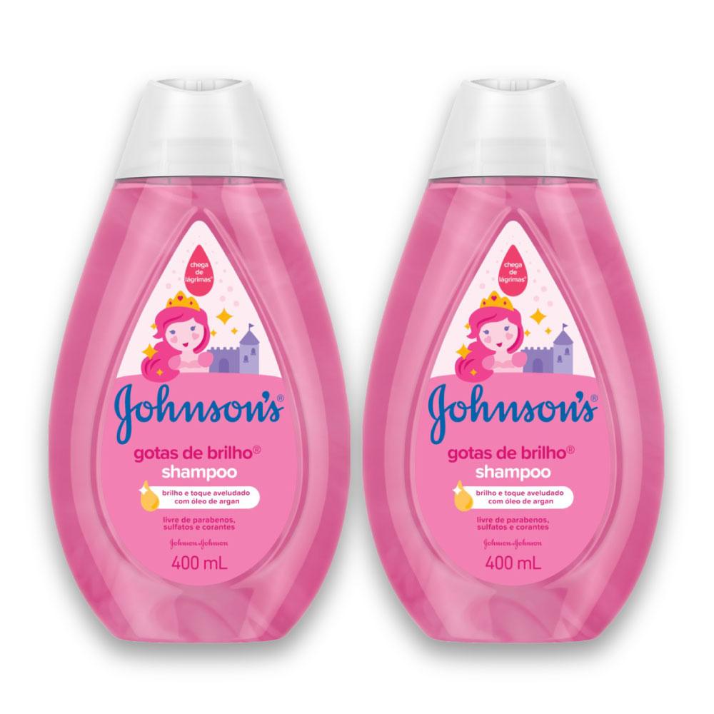 Kit com 2 Shampoo JOHNSON'S Baby Gotas de Brilho 400ml
