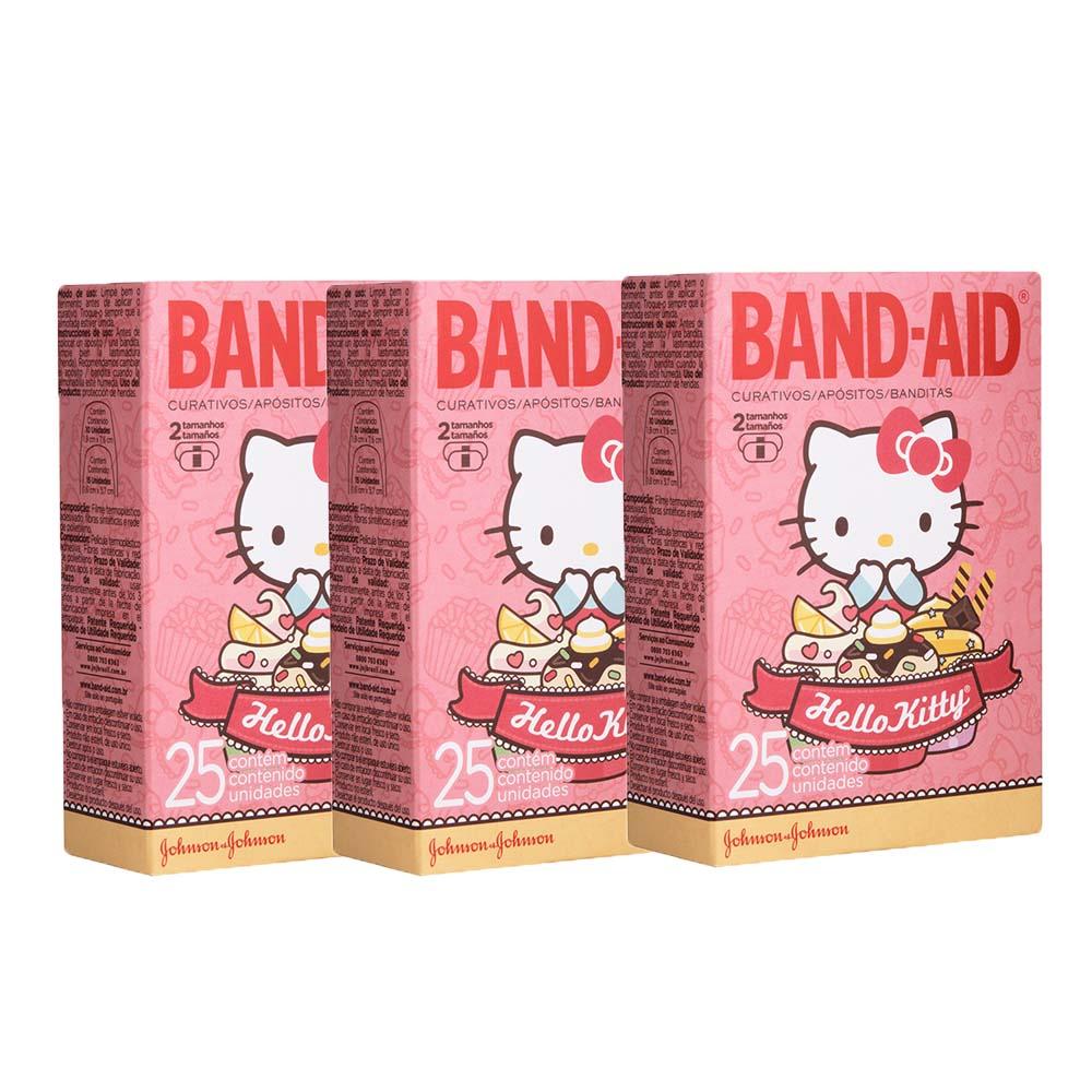 Kit com 3 Curativos BAND AID Hello Kitty com 25 unidades