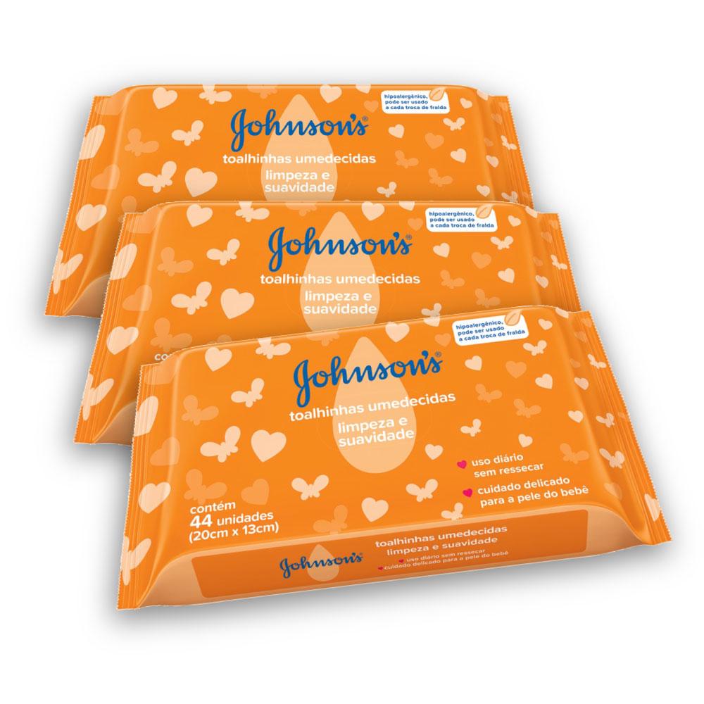 Kit com 3 Lenços Umedecidos JOHNSON'S Baby Limpeza E Suavidade 44 UN