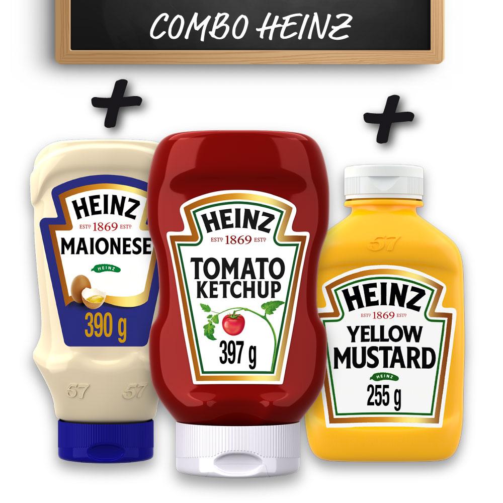 Kit Heinz Ketchup 397g + Maionese 390g + Mostarda 255g