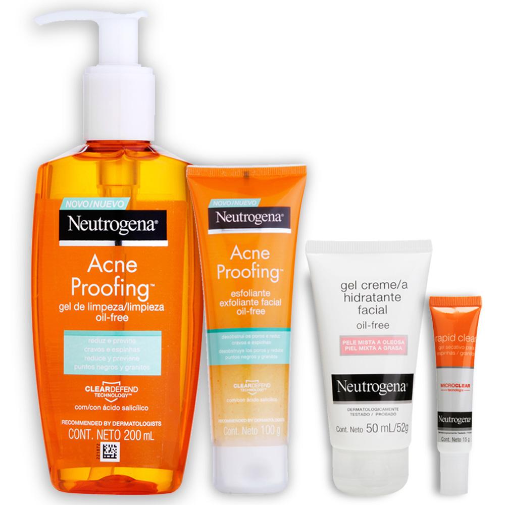 Kit Skin Care Neutrogena Anti Acne c/ Gel de limpeza, Esfoliante, Hidratante e Gel Secativo