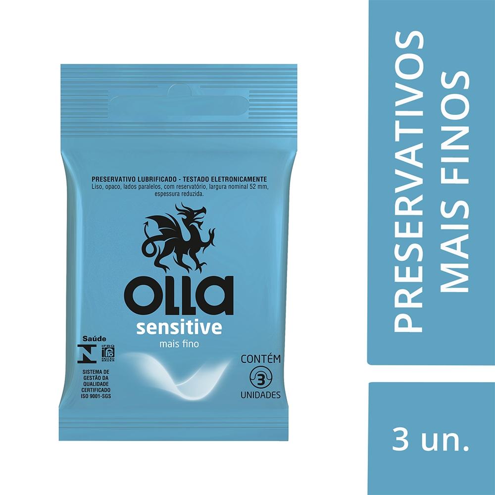 Preservativo OLLA Lubrificado Sensitive 3 unidades