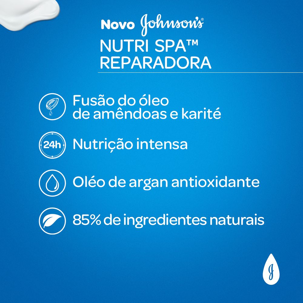 Serum Nutri Spa Reparadora JOHNSON'S Óleo de Amendoas, Argan e Karité 200ml