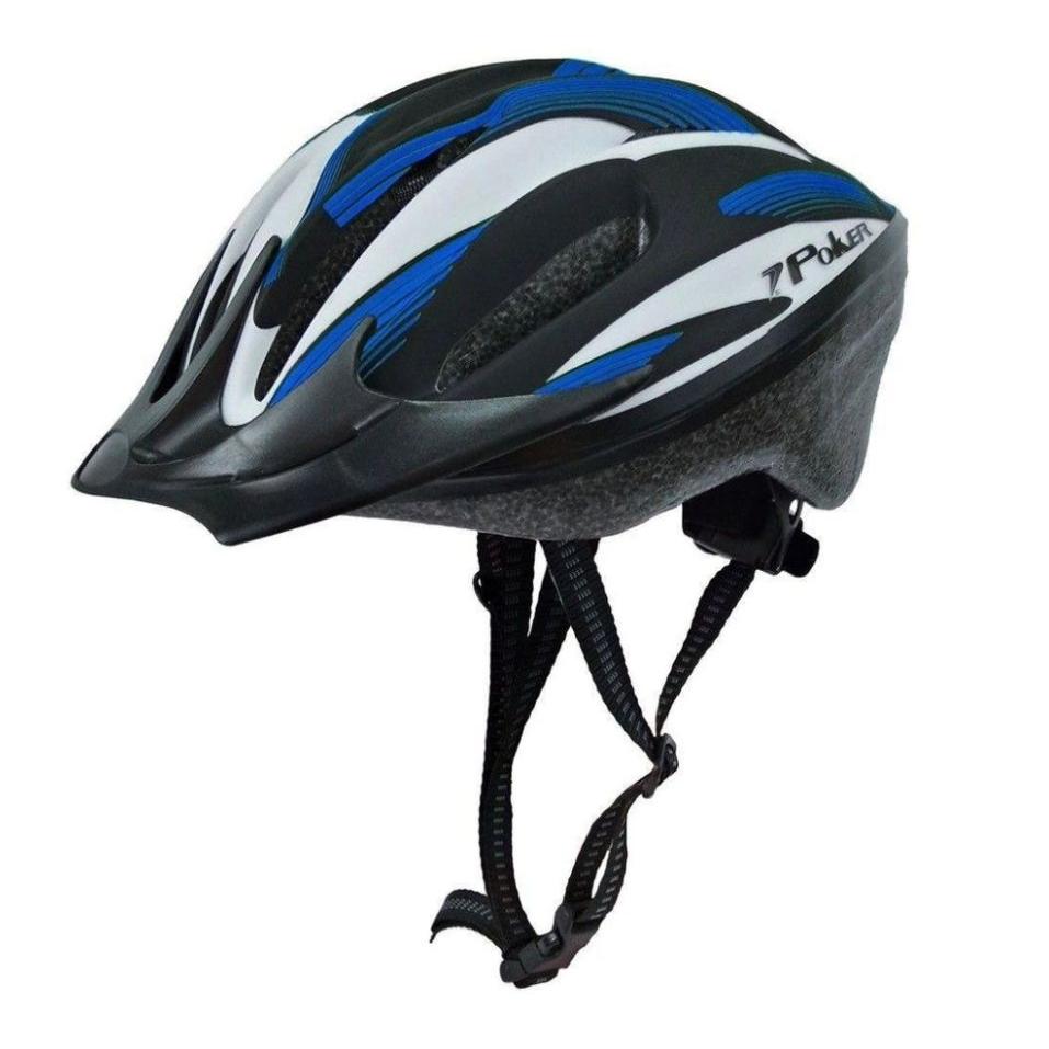 Capacete Bike Poker Out Mold Windstorm C/ Led - Azul