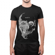 Camiseta Estampada Masculina Preta - Caveira Cladar