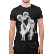 Camiseta Estampada Masculina Preta Cladar - Caveiras Beijando