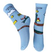 Meia Estampada Infantil - Azul Claro Mario Bros