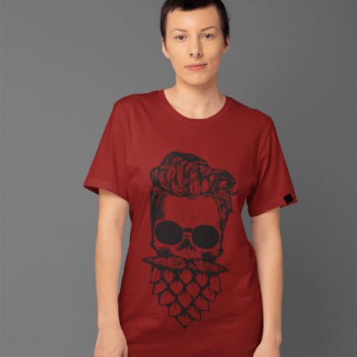 Camiseta Estampada Masculina Bordô Cladar - Caveira Lúpulo