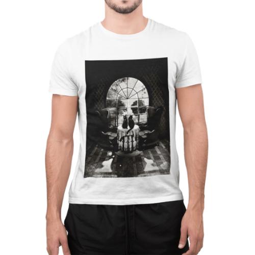 Camiseta Estampada Masculina Branca Cladar - Caveira na Sala