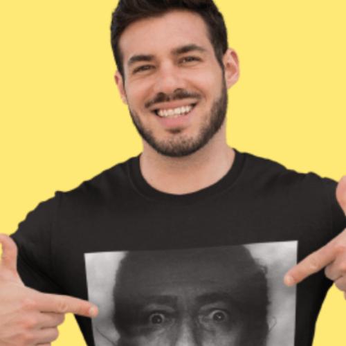 Camiseta Estampada Masculina Preta Cladar - Salvador Dali Think
