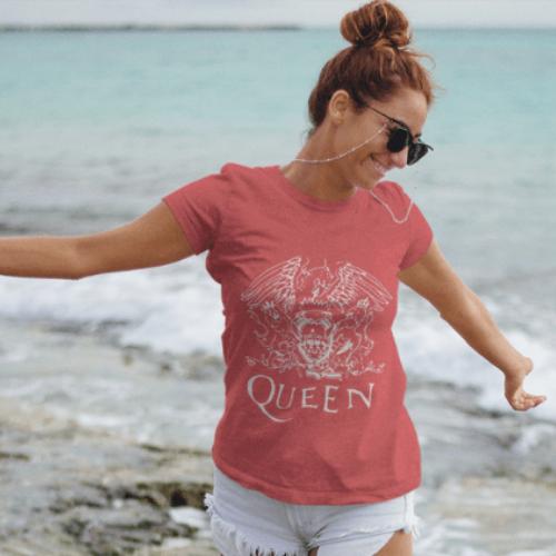 Camiseta Estampada Rock Feminina Rosa Cladar - Queen