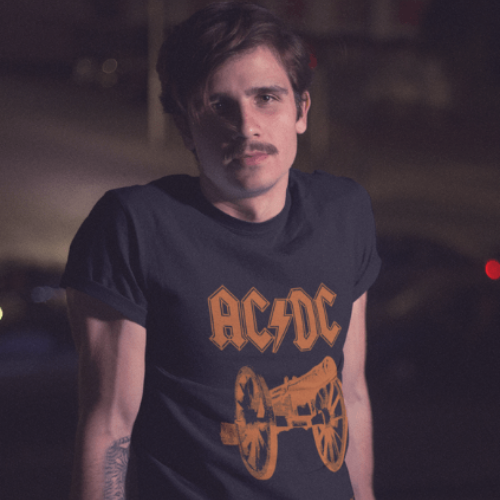 Camiseta Estampada Rock Masculina Preta Cladar - ACDC