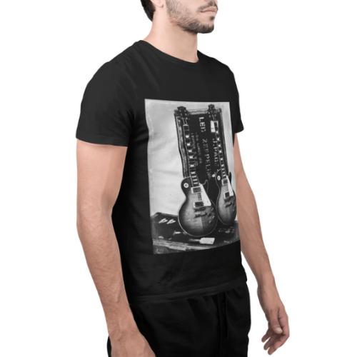 Camiseta Estampada Rock Masculina Preta Cladar - Led Zeppelin Guitarras