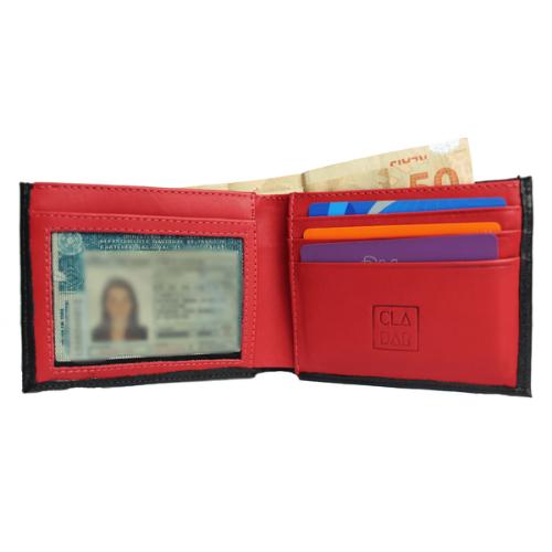Carteira em Couro Legítimo Cladar - Preta com interior Vermelho
