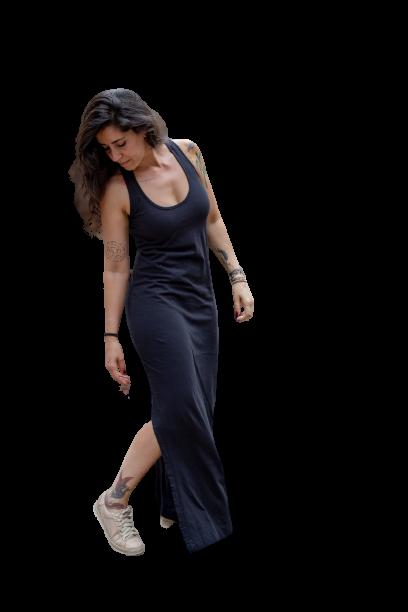 Vestido Longo Fendas em Malha - Preto Cladar