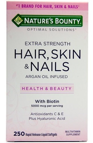 HAIR, SKIN & NAILS COM BIOTINA 250 SOFTGELS - NATURE'S BOUNTY