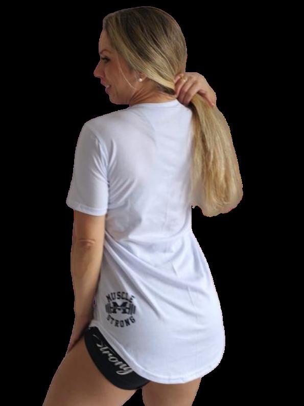Camiseta Long Feminina Escrita Fina
