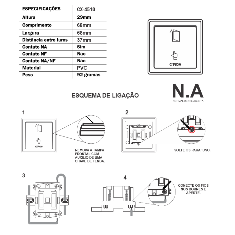 Botoeira Plástico Cube Com Fio N.a Citrox Cx-4510 Citrox