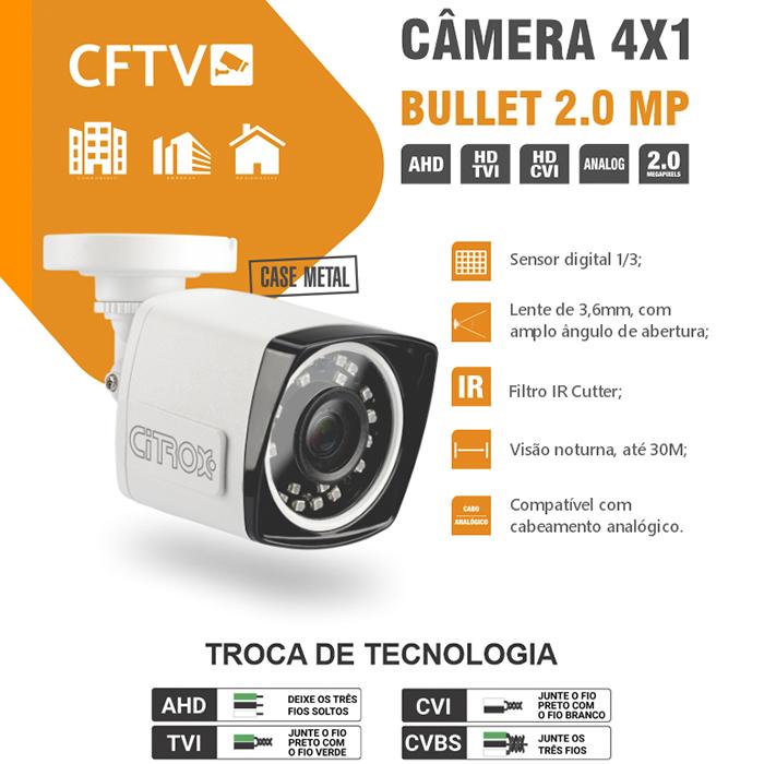 Câmera Bullet Metal 4x1 1080p Full HD IR30m CX-3030 Citrox
