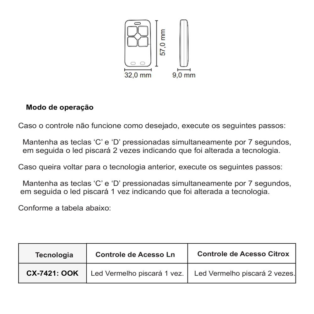 Controle Remoto Citrox Dual Gate 4b 433,92Mhz Linear Cx-7421