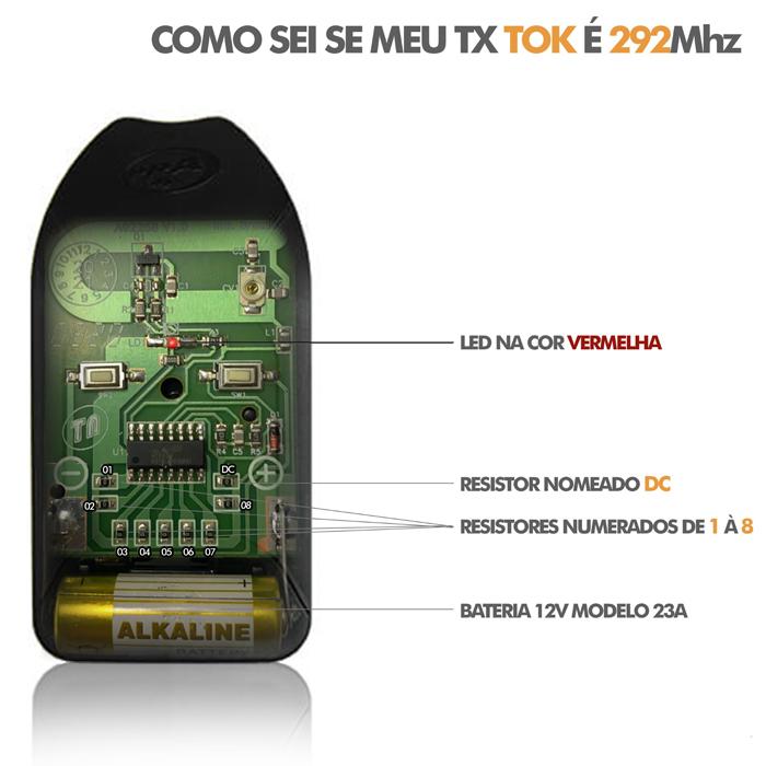 Controle Remoto de Corte Para Motor de Portão Tok 292Mhz PPA