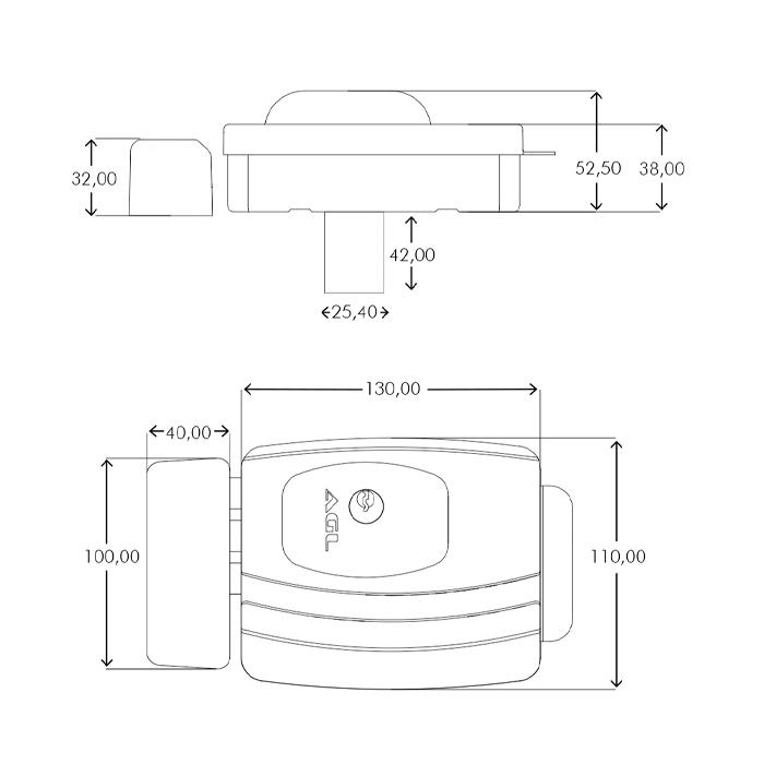 Fechadura Eletrônica Para Portão Ultra Card, Chave Digital, Alarme de Porta Aberta, Chave Manual