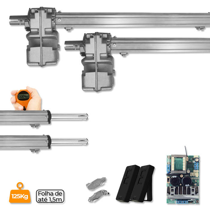 Kit Duplo Motor para Portão Pivotante Piston Home JetFlex