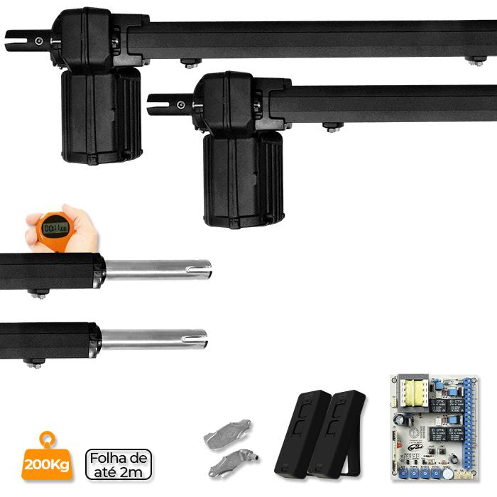 Kit Duplo Motor para Portão Pivotante Piston Predial Analógico