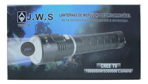 LANTERNA DE MERGULHO J.W.S. WS-728 LED RECARREGAVEL