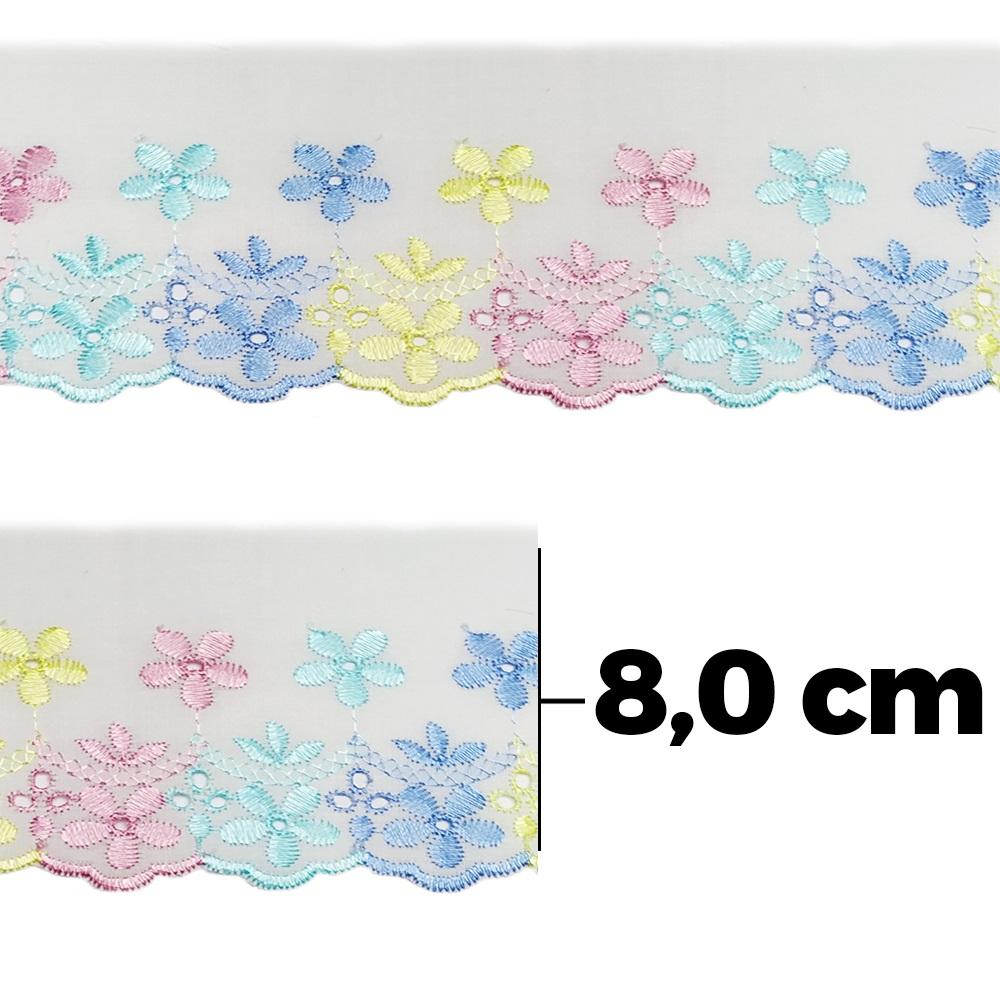 Bordado Ingês Círculo Colorido - 13,7mts - Ref. 394254