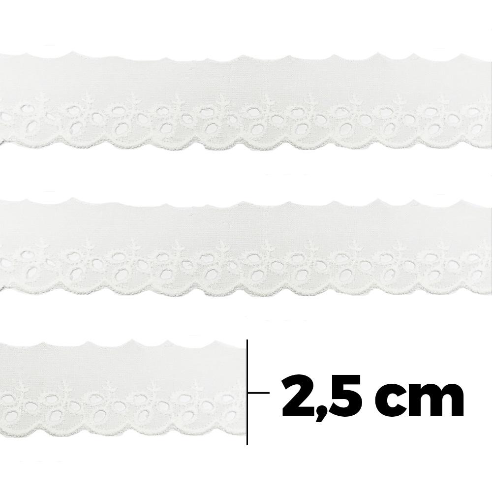 Bordado Inglês 100% Algodão Artepunto 2,5cm Branco - BA020