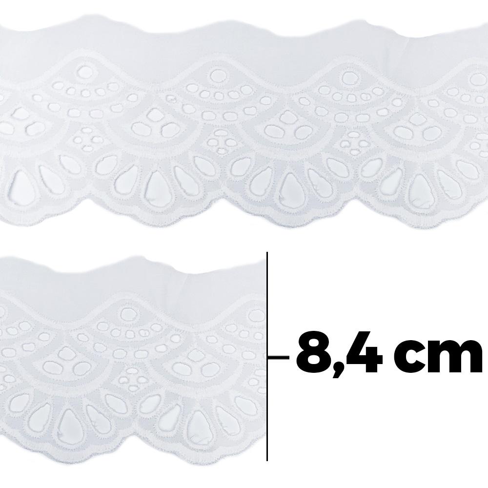 Bordado Inglês BA017 100% Algodão Branco - 8,4 cm - Artepunto