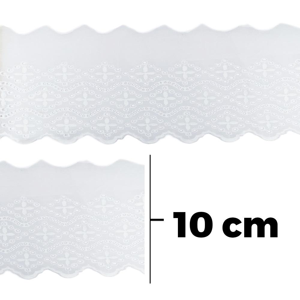Bordado Inglês TC9400 100% Algodão Branco - 10 cm - Lulitex