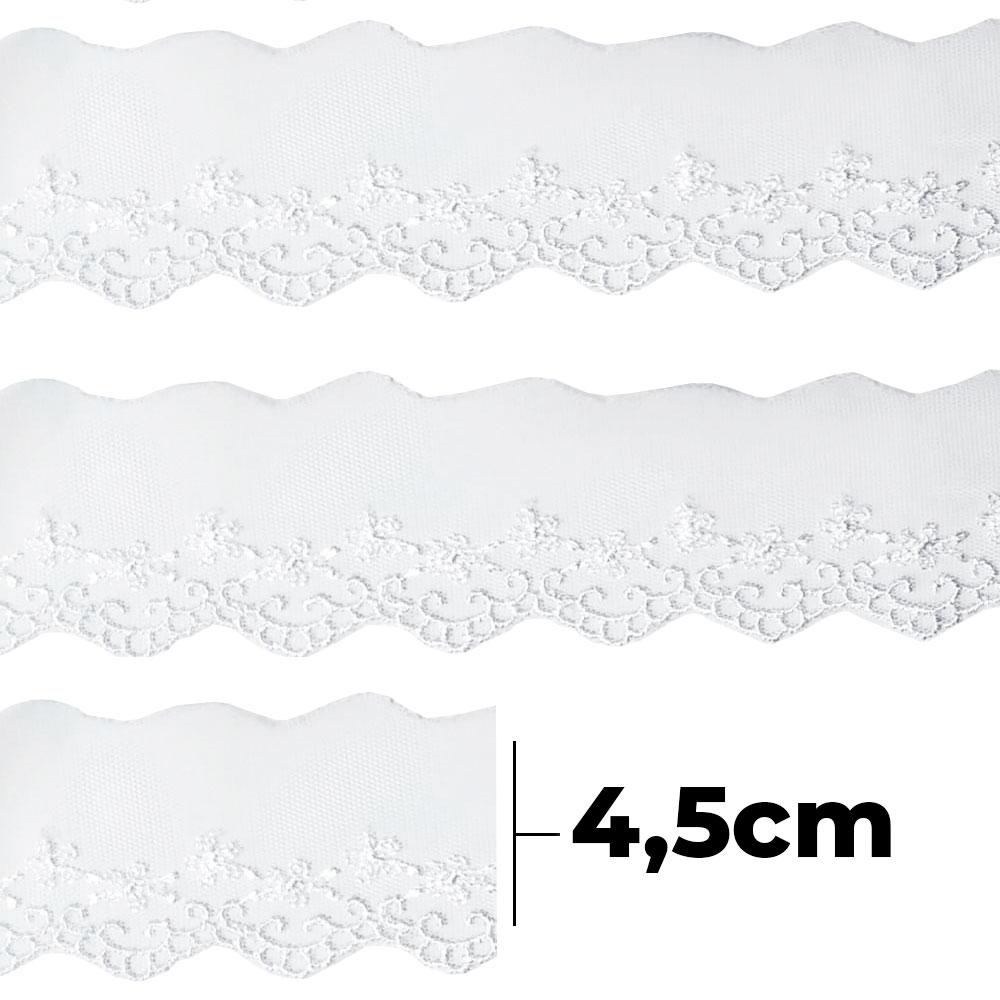 Bordado Tule BT007 Branco - 4,5 cm - Arte Punto