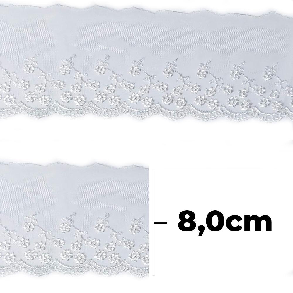 Bordado Tule BT008 Off-White - 8 cm - Arte Punto