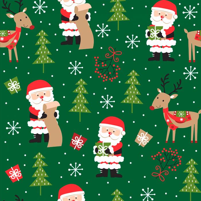 Tecido Patchwork Peripan Natal Verde Papai Noel e Rena 0,50X1,50mts