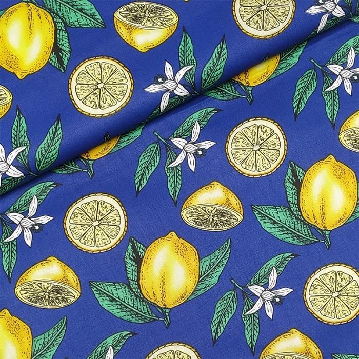 Tecido Patchwork Rimatex Limão Azul Escuro 0,50X1,50mts