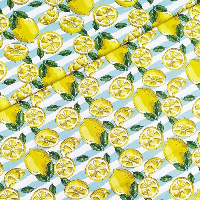 Tecido Patchwork Fricotes Limão Siliciano  Listrado 0,50X1,50mts