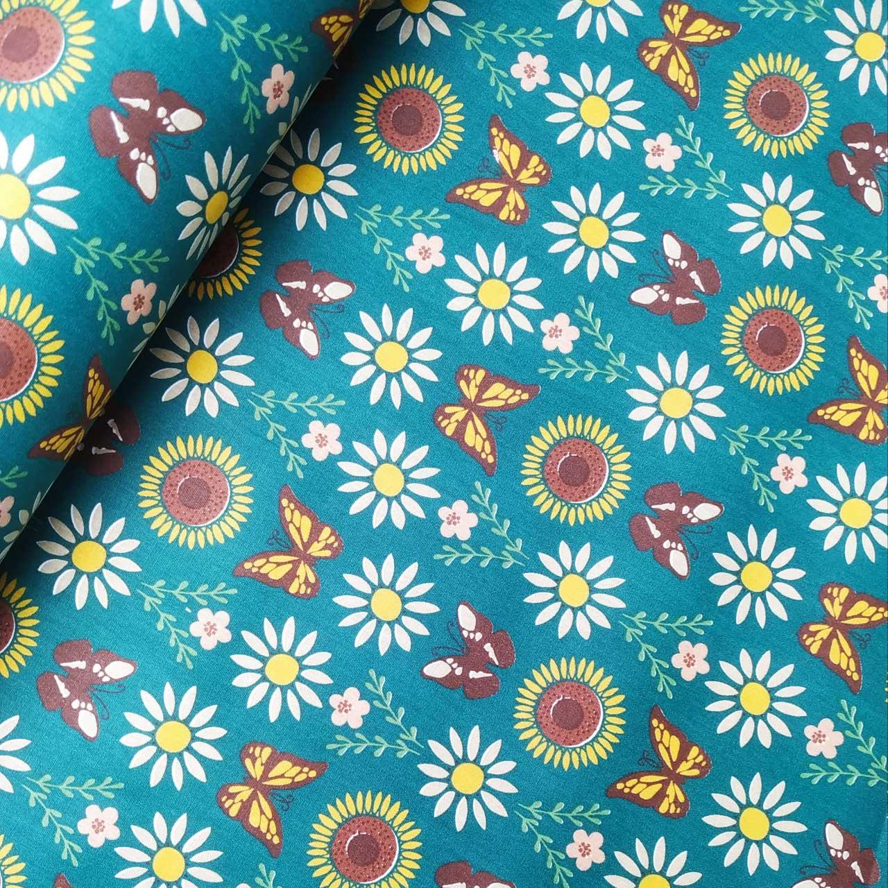Tecido Patchwork Peripan Floral Jardim de Borboletas 0,50X1,50mts