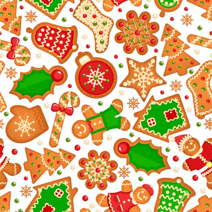 Tecido Patchwork Peripan Natal Branco Biscoito de Gengibre 0,50X1,50mts