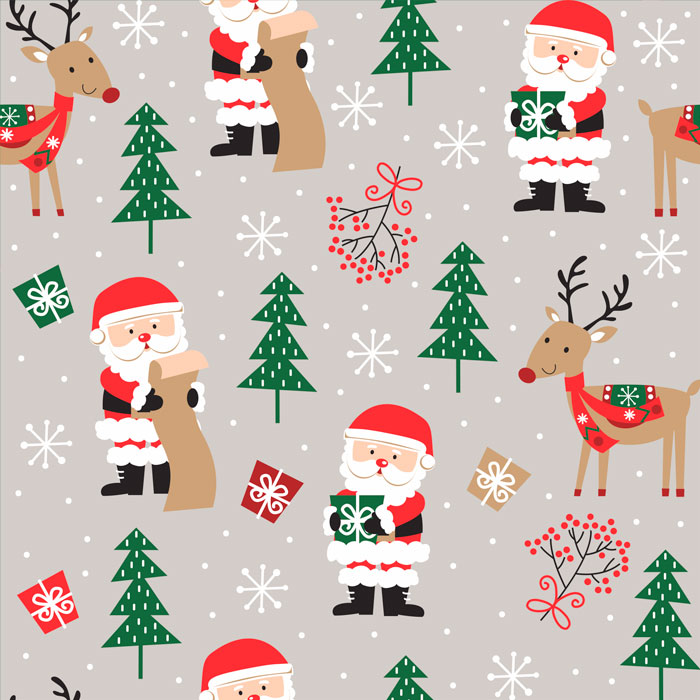 Tecido Patchwork Peripan Natal Cinza Papai Noel e Rena 0,50X1,50mts