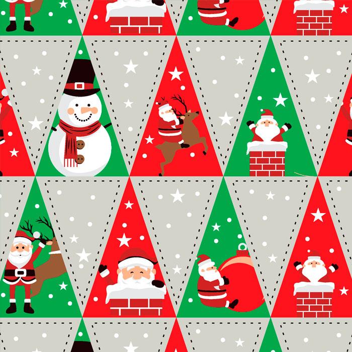 Tecido Patchwork Peripan Natal Cinza Triangular 0,50X1,50mts