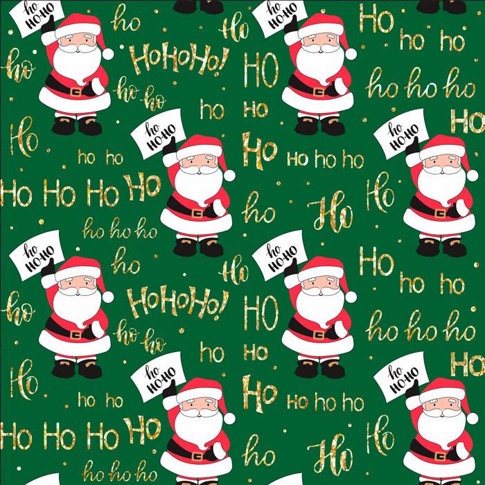 Tecido Patchwork Peripan Natal Verde Papai Noel Hohoho 0,50X1,50mts