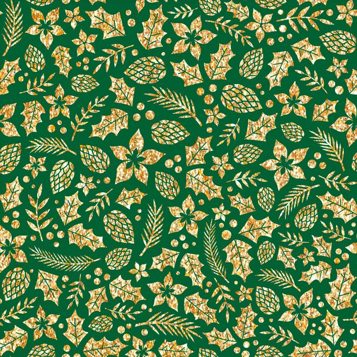 Tecido Patchwork Peripan Natal Verde Pinhas e Folhas 0,50X1,50mts