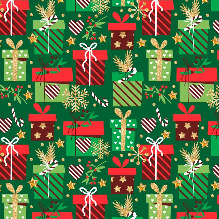 Tecido Patchwork Peripan Natal Verde Presentes 0,50X1,50mts
