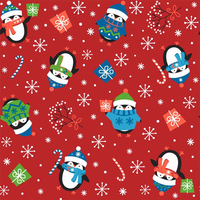 Tecido Patchwork Peripan Natal Vermelho Pinguins 0,50X1,50mts