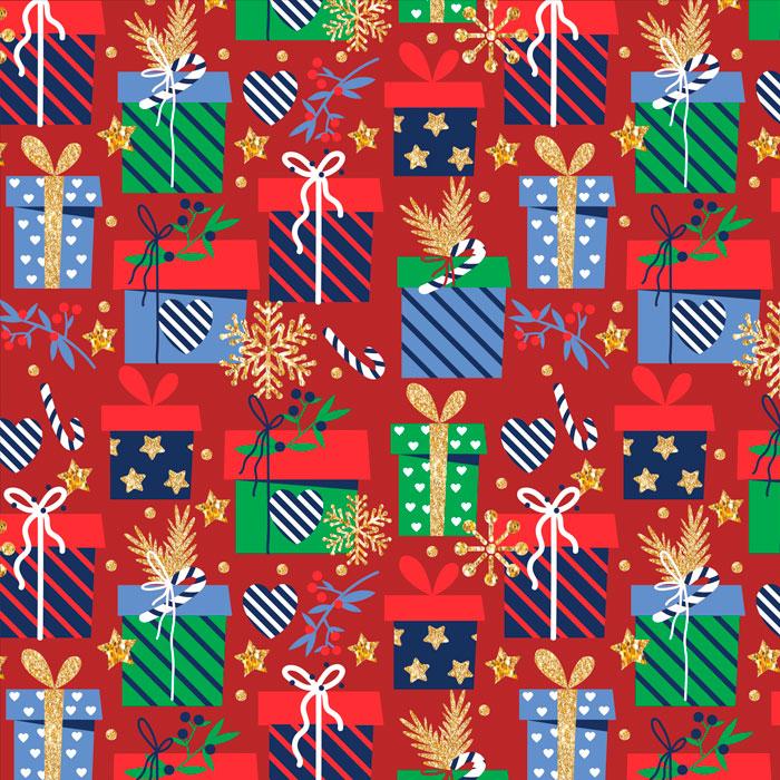 Tecido Patchwork Peripan Natal Vermelho Presentes 0,50X1,50mts