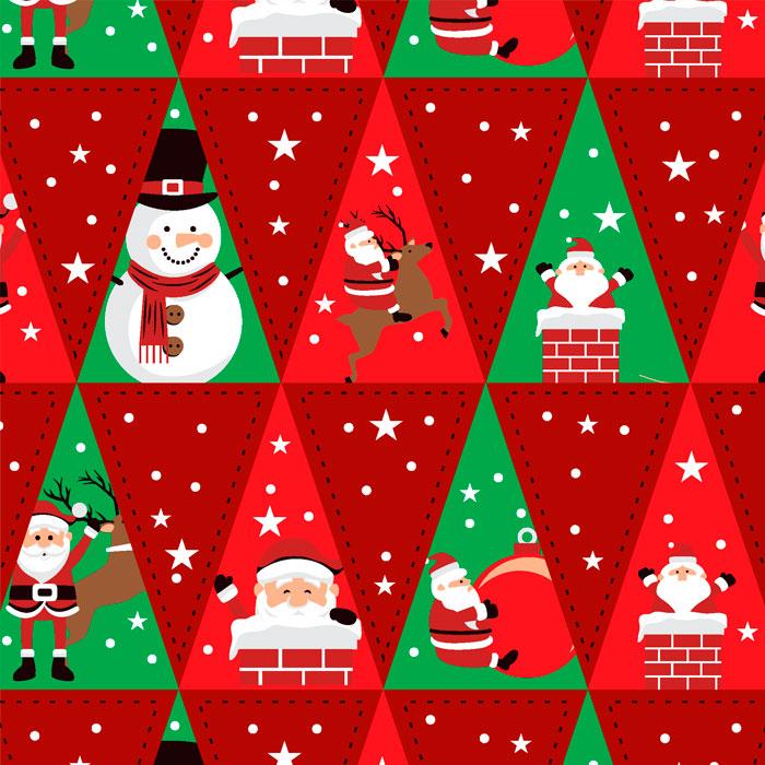 Tecido Patchwork Peripan Natal Vermelho Triangular 0,50X1,50mts
