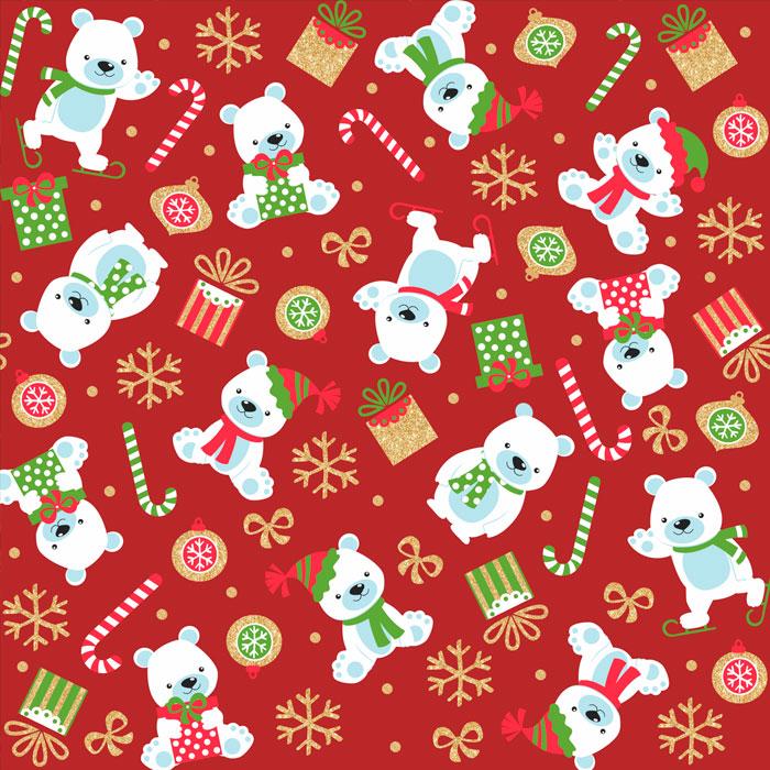 Tecido Patchwork Peripan Natal Vermelho Urso Polar 0,50X1,50mts