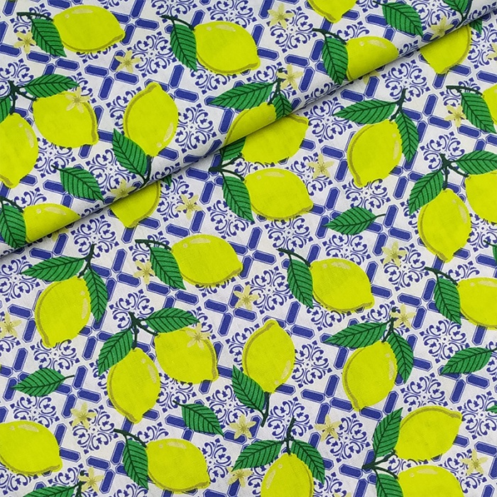 Tecido Patchwork Peripan Limão Branco 0,50X1,50mts